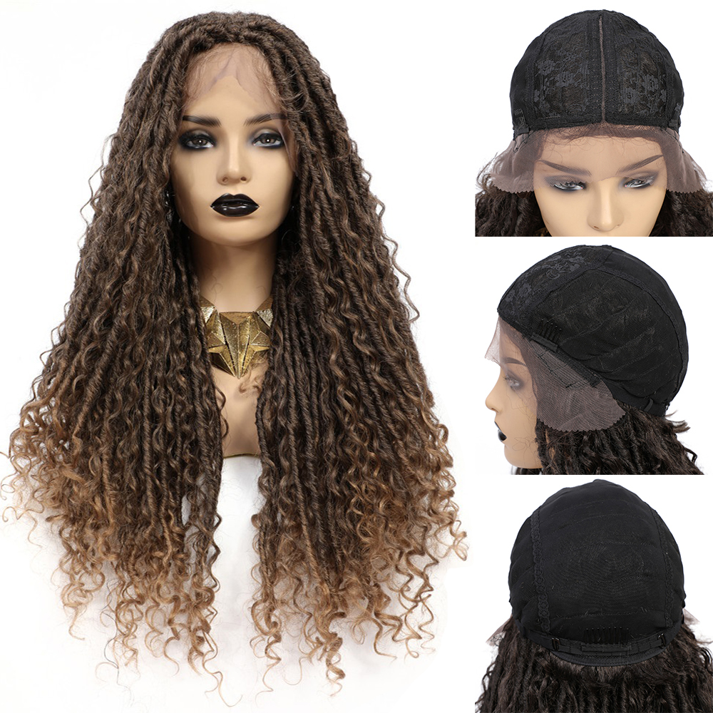 X-TRESS Faux Locs Synthetic Wigs Straight Mix Curly Barids Ombre Brown Colored Crochet Braids Wig For Black Women Soft Dreadlock