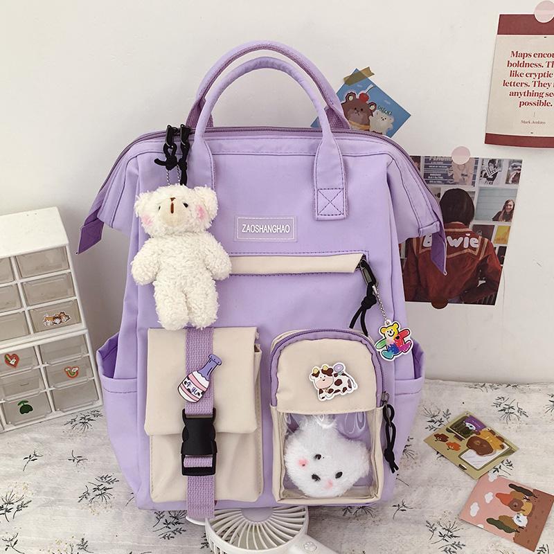 2021 Preppy Purple Backpack Women Waterproof Candy Colors Backpacks Fancy High School Bags for Teenage Girl Cute Travel Rucksack