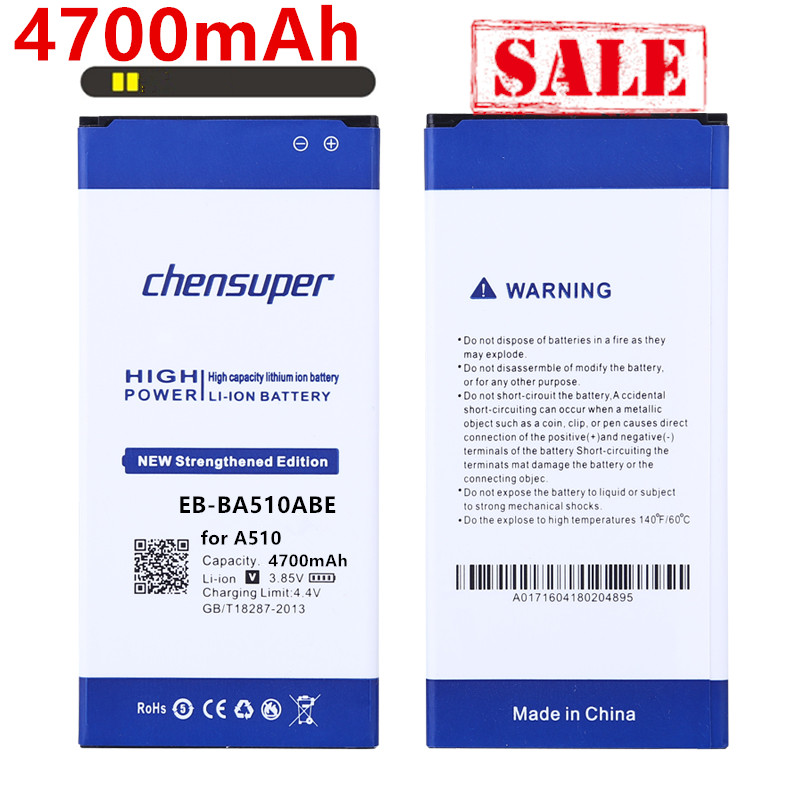 chensuper 4700mAh EB-BA510ABE <font><b>Battery</b></font> for Samsung Galaxy 2016 Edition A510 SM-A510F A5100 <font><b>A5</b></font> A510 image