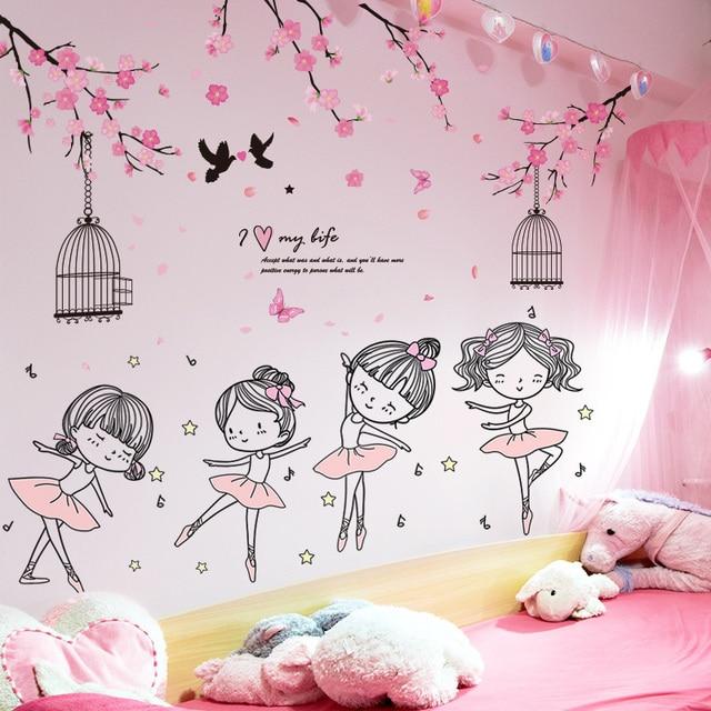 [shijuekongjian] Ballet Dancer Girl Wall Stickers DIY Flowers Plants Wall Decals for Kids Room Baby Bedroom House Decoration