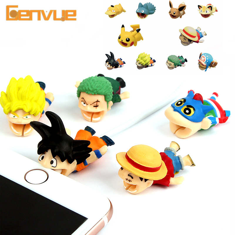 Anime Cable Bite Protector Line For Iphone Stress Accessories Cute Cartoon Protege Cable Pikachu Model Funny Gadgets Children