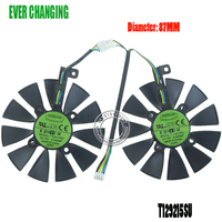 87MM Cooler Fan For ASUS GTX1060 1070 Ti RX 470 570 580 Graphics Card Everflow T129215SU PLD09210S12HH 28mm Cooling Fans