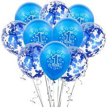 10pcs 1st Azul Confete Rosa Balão De Látex Balões De Aniversário Da Menina do Menino Um 1 Anos de Idade Primeira Festa de Aniversário Decorações Do Chuveiro de Bebê