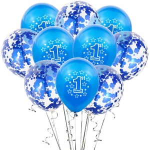 10pcs 1st Birthday Balloons Blue Pink Confetti Latex Baloon Boy Girl One 1 Year Old First Birthday Party Decorations Baby Shower