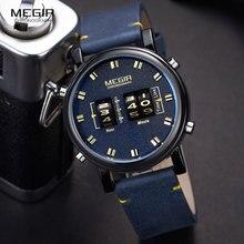Часы MEGIR Мужские кварцевые в стиле милитари, роскошные Брендовые спортивные цифровые наручные, с циферблатом и кожаным ремешком, синие, 2137