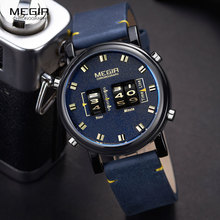 Megir relógio com tambor masculino, relógios de pulso esportivo militar para homens, couro azul 2137