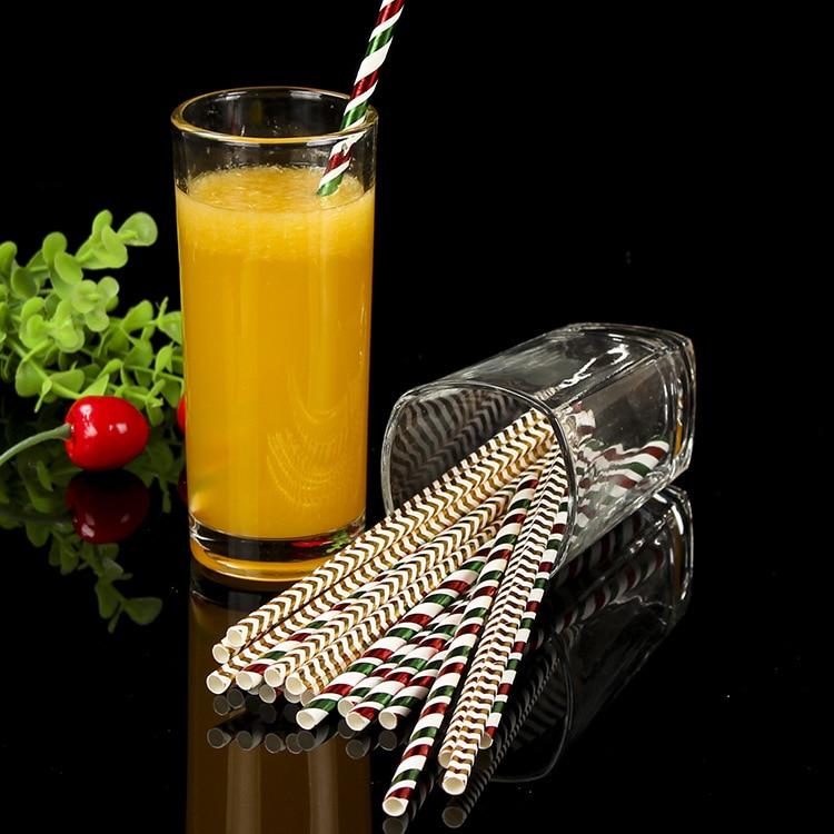 Disposable Kraftpaper Straw Multi-color Stripe KTV Bar Drinks Paper-plastic Stick Straw