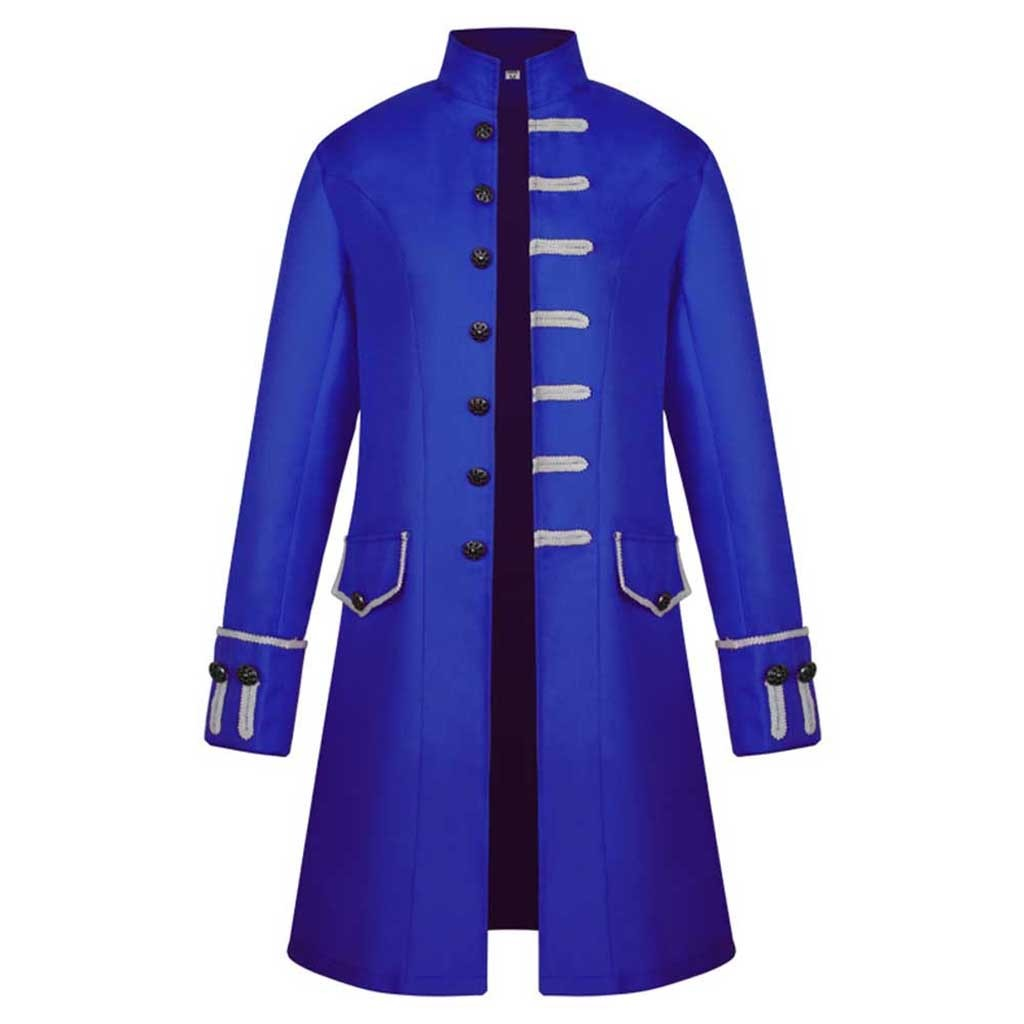Hd58df9d958d4410eb26e5046ed23cda9e Men Trench Coat Steampunk Jacket Medieval Costume Men Long Sleeve Gothic Brocade Jacket Frock Vintage Stand Collar Men's Coat