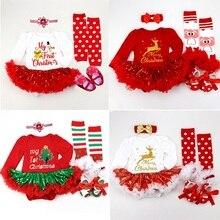 長袖ベビーガールロンパース新生児レースロンパース子供クリスマス衣装赤ちゃんや幼児 4 個/3 個/2 ピース/セット
