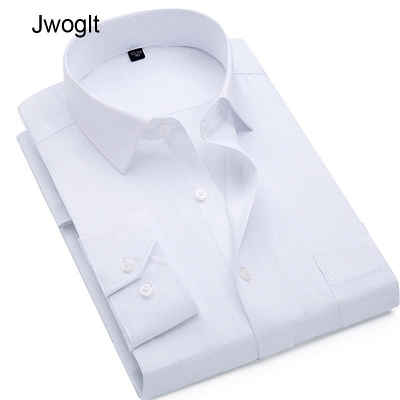 New Fashion Mens Business Casual Long Sleeved Shirt Slim Fit Classic Striped Male Social Work Formal Dress Shirts 4XL 5XL