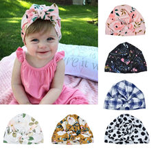 Newborn Baby Tire Caps With Ear Girls Boys Floral Bow Hats With Bow 2019 Baby Girls Cap Beanie Turban Clothing Accessories 2020(China)