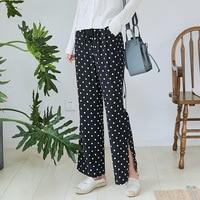 2019 Autumn new retro straight pants micro elastic casual high waist split black dot shaking pants wide leg pants female Z0472