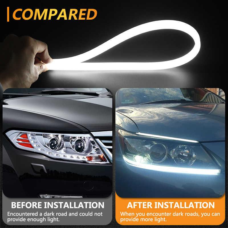 KAHANE 45/60cm esnek yumuşak DRL beyaz LED gündüz farı Hyundai Tucson için Solaris Creta ix35 Santa volvo S60 V70 XC90