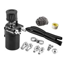 universal car oil catch can tank with breather compact dual cylinder polish baffled engine air oil separator tank reservoir kit Universal Car Oil Catch Can Tank with Breather Compact Dual Cylinder Polish Baffled Engine Air Oil Separator Tank Premium New