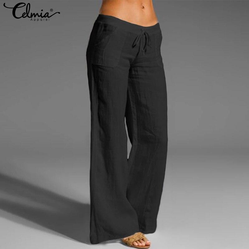 Oversized Trouser Celmia Women Vintage Linen Palazzo Fashion Long Wide Leg Pants Casual Elastic Waist Solid Loose Pantalon Femme 2
