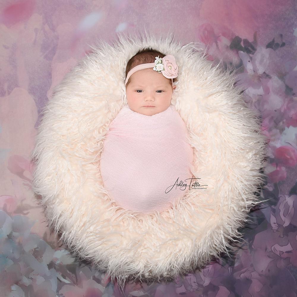 Photo Shoot  Fluffy Pillow Donut  Newborn Photography Props Basket Woolen Filler Stuffer Cushion Blanket Cloud Layer 50x40cm