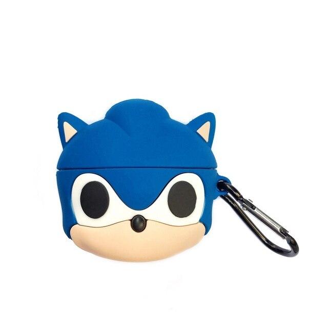 Pour AirPods Pro 3D Anime Sonic le hérisson étui pour écouteurs pour AirPods 1 2 3 Bluetooth casque dessin animé Silicone couverture avec crochet