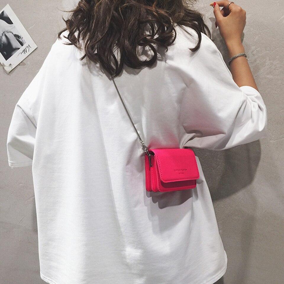 Neon verde amarelo rosa mini couro crossbody sacos para as mulheres senhora bolsas de viagem bolsa ombro corrente mensageiro