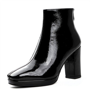 Image 3 - MORAZORA 2020 new arrival women ankle boots patent leather square toe autumn boots zip simple high heels shoes woman black