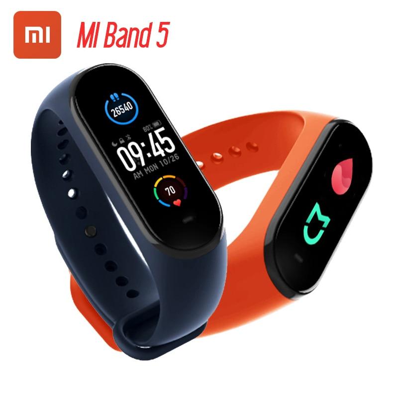 Смарт браслет Xiaomi Mi Band 5, 4 цвета, AMOLED экран, Mi Band 5, фитнес трекер, Bluetooth Smartband, 2020|Смарт-браслеты|   | АлиЭкспресс