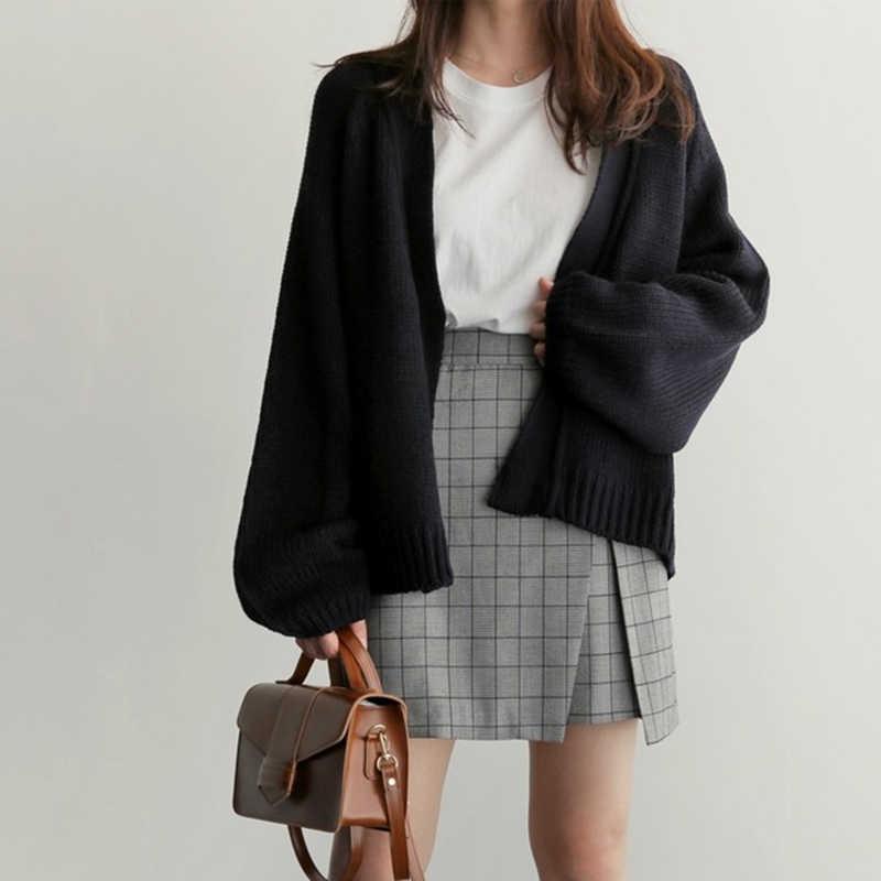 짧은 카디건 여성 스웨터 자르기 니트 가을 소녀 빈티지 2019 겨울 자켓 한국 느슨한 캐주얼 두꺼운 따뜻한 스웨터 학생