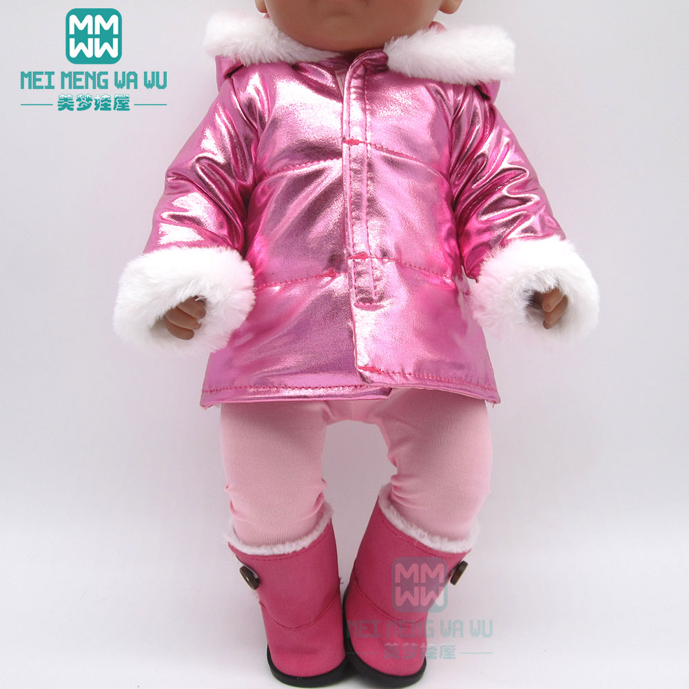 Clothes For Doll  Fur Collar Coat Fit 18inch 43-45cm Baby Toy New Born Doll And American Doll Accessories