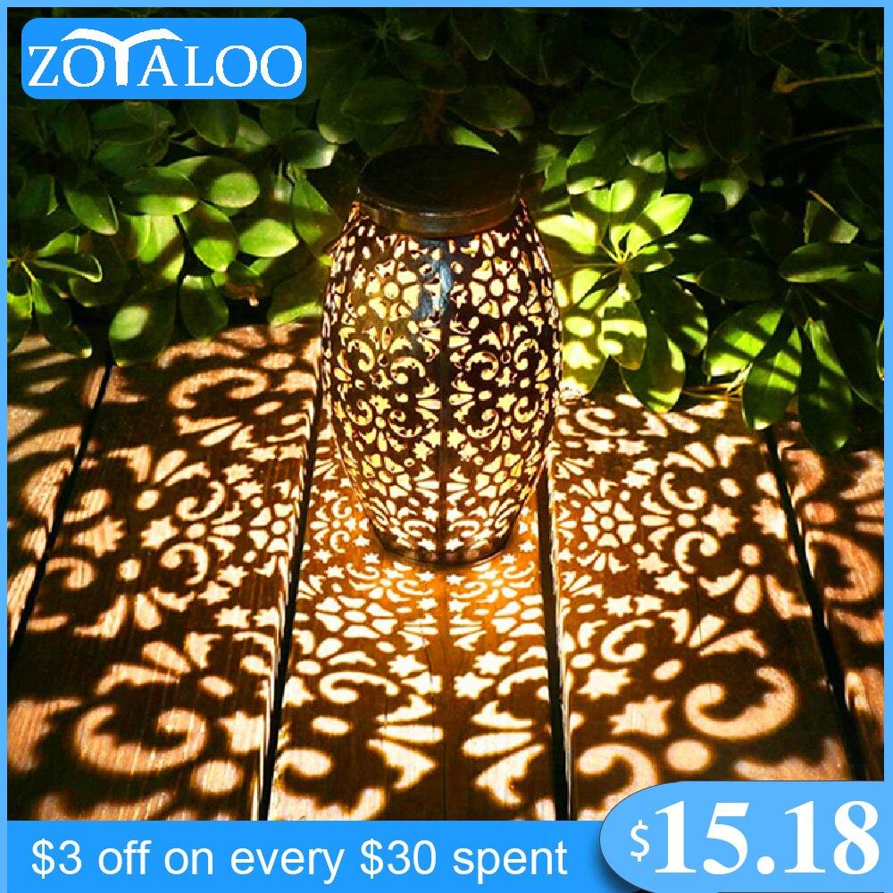 Zoyaloo LED Retro Garden Solar Lamp Metal Hollow Shadow Projection Hanging Lantern Outdoor Lighting Waterproof Landscape Light