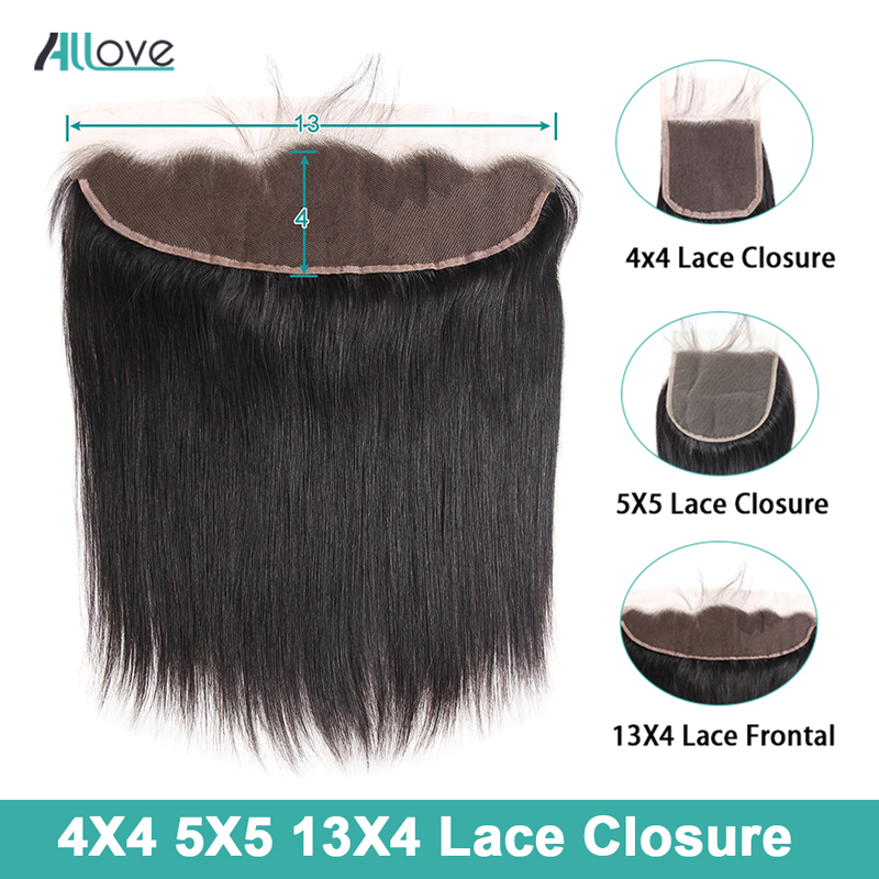 Allove 4X4 Brazilian Straight Hair Lace Closure 100% Non-Remy Human Hair 5X5 Lace Closure 13X4 Ear To Ear Lace Frontal Closure