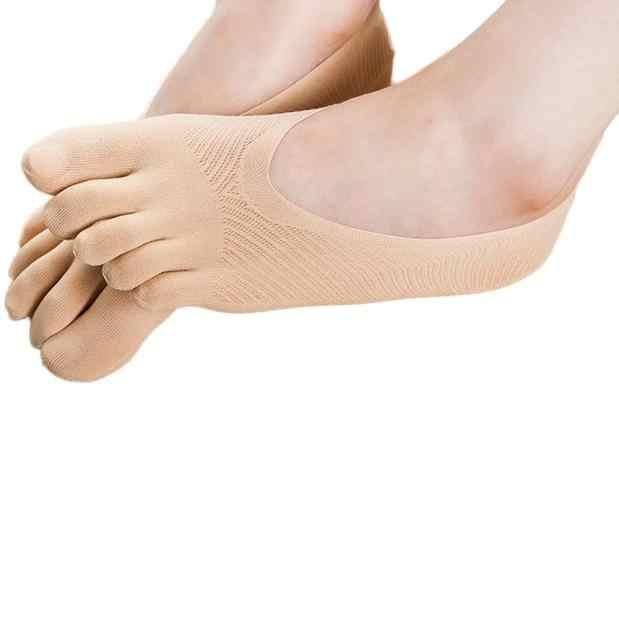面白い 5 指足靴下女性スリッパ不可視ソックスローカット固体通気性の靴下黒グレーカーキピンク白 12.31