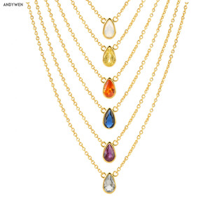 ANDYWEN 925 Sterling Silver 7 Colors Rainbow Colorful Ovals Zircon Charms Pendant Necklace 2020 Women Luxury Jewelry Choker