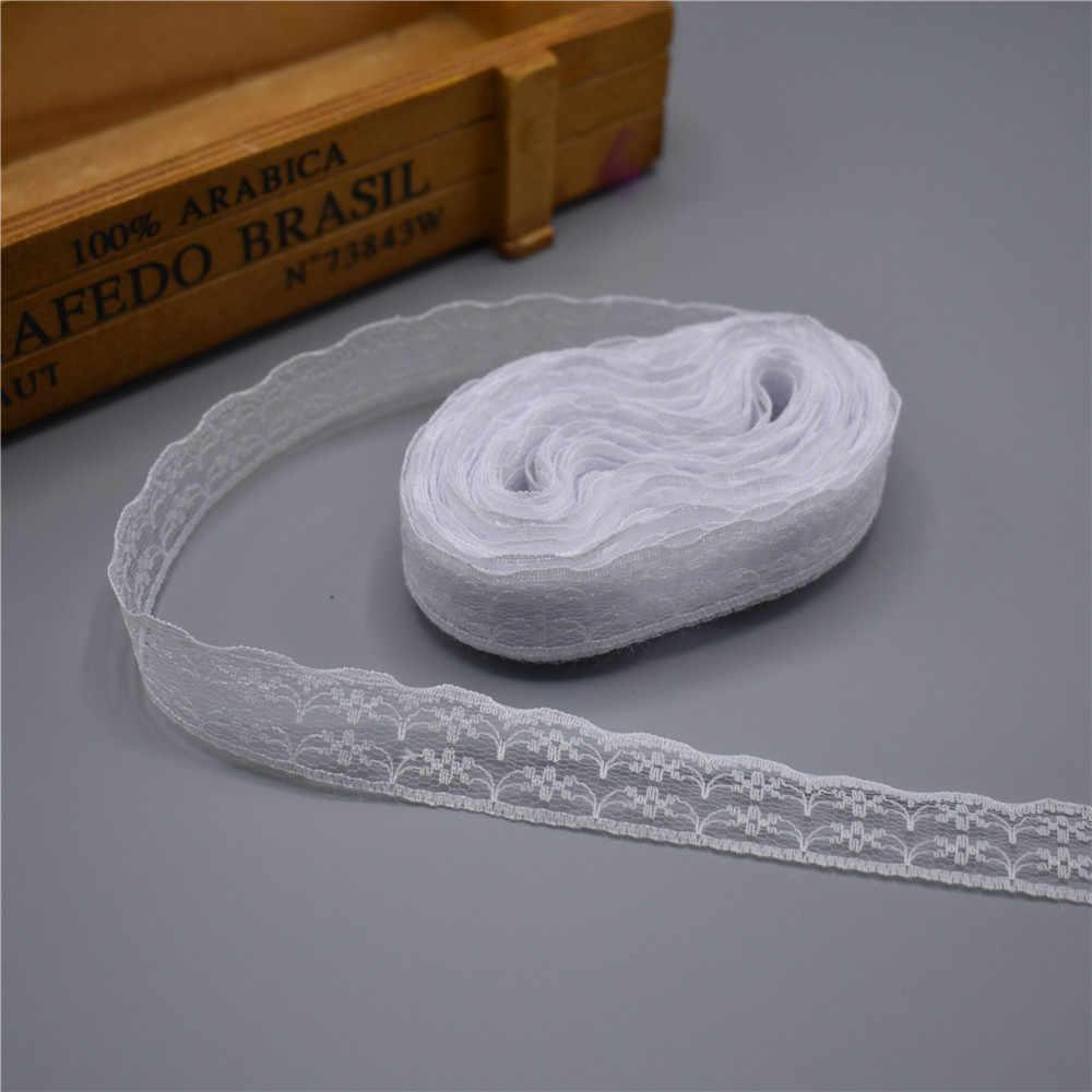 10 metre dantel şerit bant 22MM geniş beyaz dantel süs kumaşı DIY nakışlı ağ dantel süslemeler için dikiş aksesuarları dekorasyon
