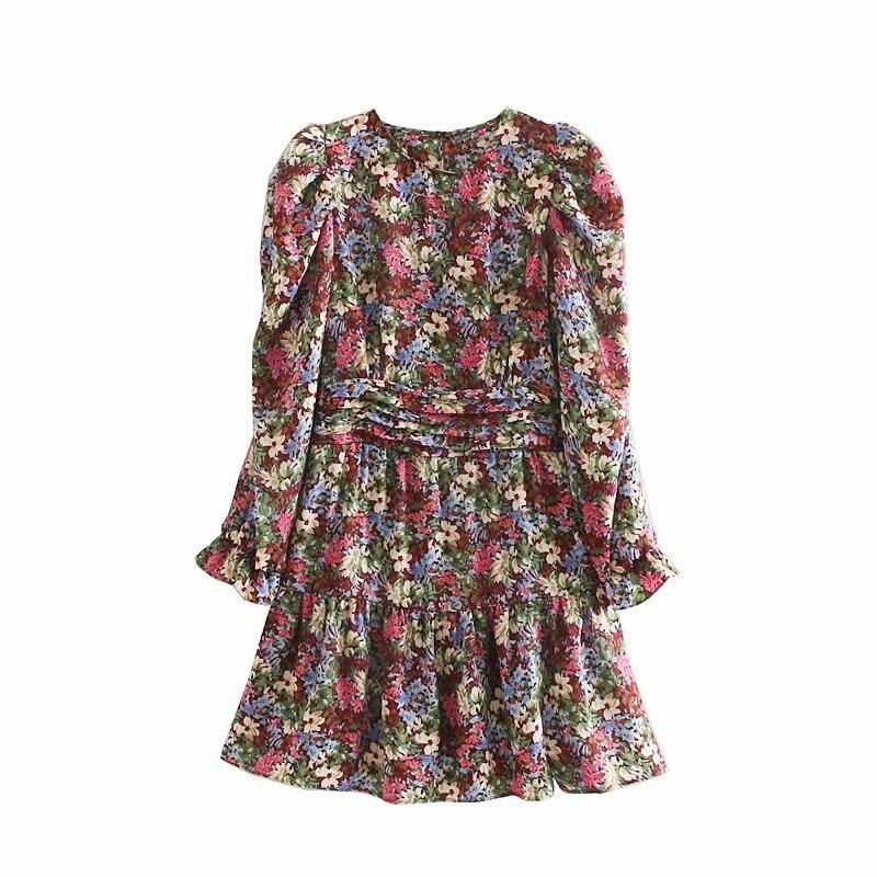 2019 Women Sweet Floral Print Hem Ruffles Mini Dress Female O Neck Puff Sleeve Pleats Vestidos Chic Casual Slim Dresses DS2982