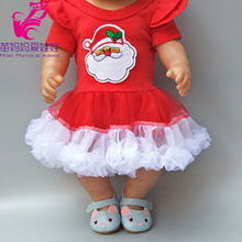 clothes for Baby doll Santa Claus clothes christmas dress for doll hat fit for 18 dolls red dress girl Christmas gift baked doll christmas candy party dress