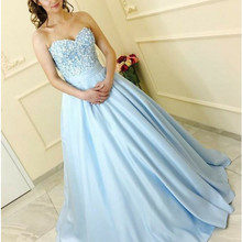 Light Blue Prom Dresses 2020 Strapless Lace up Back Applique