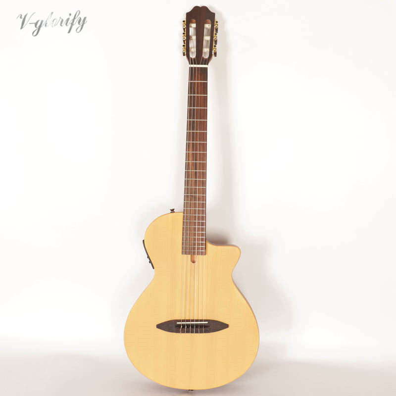 Solid Wood Thin Body Silent Classical Guitar With EQ Tuner Function 39 Inch 22 Frets Cutway Design Natural Color Classic Guitar