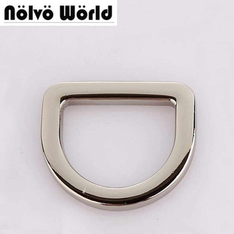 50pcs 4 Colors Polished Silver 2.5cm 1 Inch Welded Metal D Ring Accessories For Bags Purse Adjusted