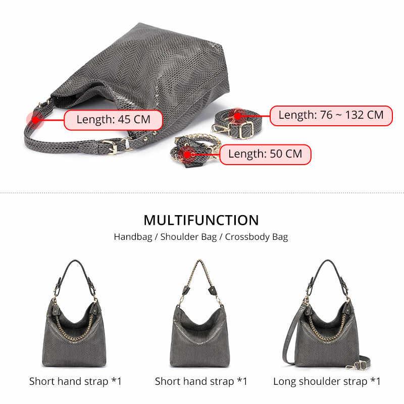 MAIS REAL mulheres bolsa de ombro fêmea Grandes Hobos bolsa de luxo com top-alça para senhoras tote de couro artificial com corrente 2019