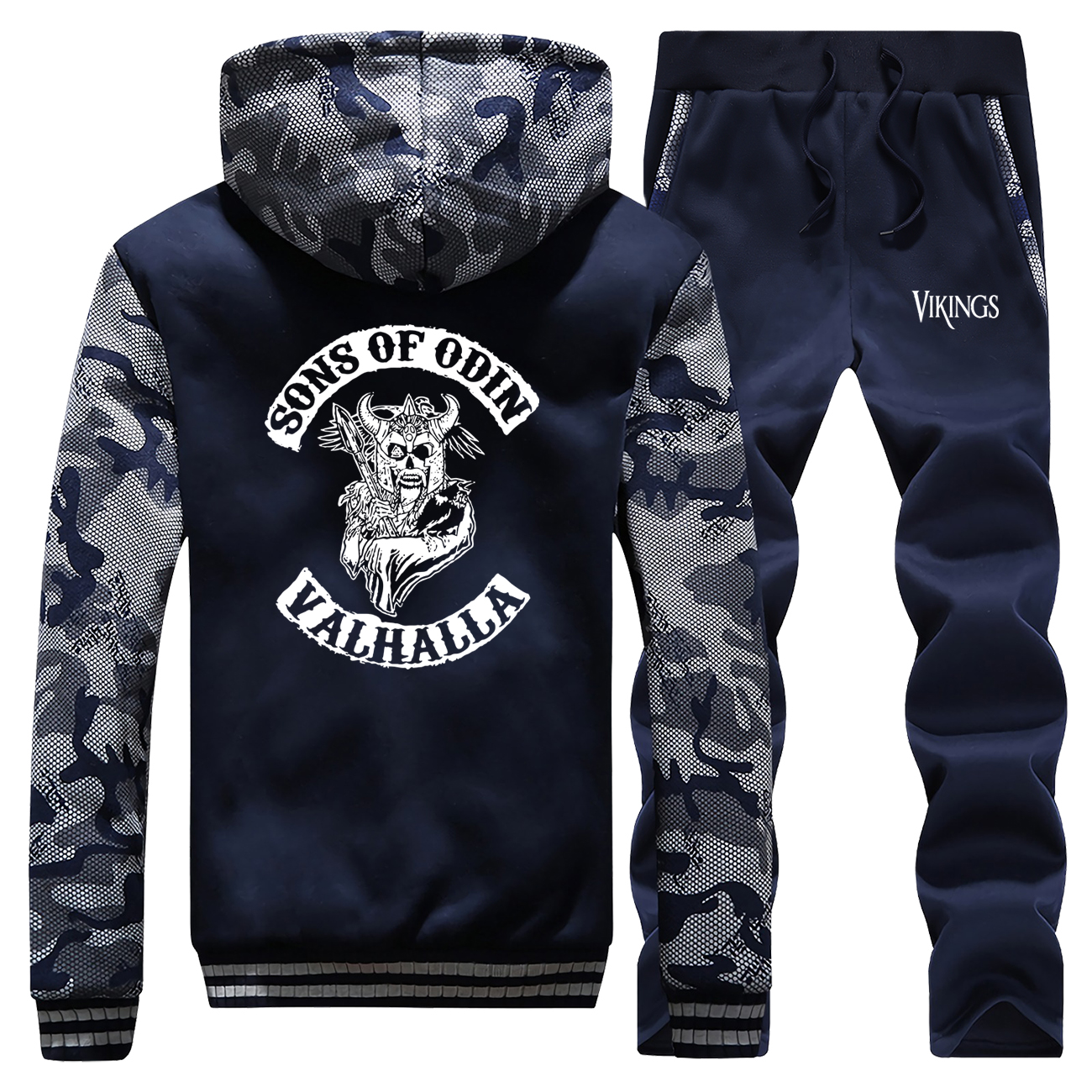 Sons Of Odin Valhalla Chapter Camouflage Thick Hoodies Mens Sweatshirt+Pants 2 Piece Sets Men Fleece Warm Coats Winter Jacket