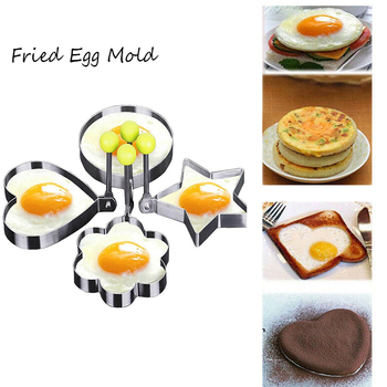 5 Style Stainless Steel Fried Egg Mold Heart Round Frying Egg Pancake Omelette Diy Mould Kitchen Cooking Baking Decorating Tools image