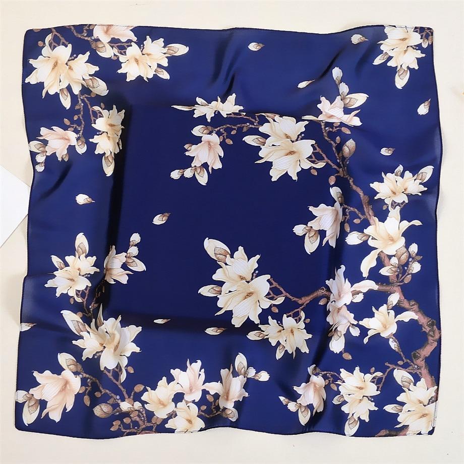 53cm Brand Square Scarves Women Kerchief Fashion Neckerchief Turban Winter Scarves For Ladies Silk Feeling Neck Tie Band