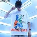 Мужские футболки с забавным принтом ZAZOMDE 2021, летняя уличная одежда в стиле хип-хоп, мужские футболки с коротким рукавом, Повседневная футбол...