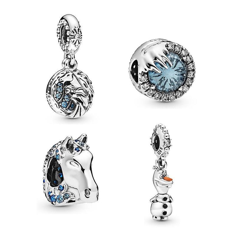 2019 New Original 925 Sterling Silver Frozen Elsa & Nokk Horse Olaf Dangle Charm Fit Pandora Bracelet Bangle DIY Women Jewelry
