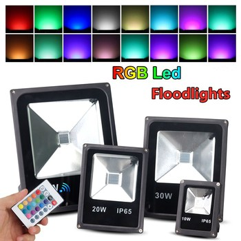 ac85 265v led flood light 50w 100w 150w 200w 300w 400w smd cob chips epistar floodlight landscape led ip65 waterproof light lamp RGB Floodlight 200W 150W 100W 50W 30W IP65 LED Waterproof Outdoor Flood Light AC85-265V Party Neon lamps With Remote Controller