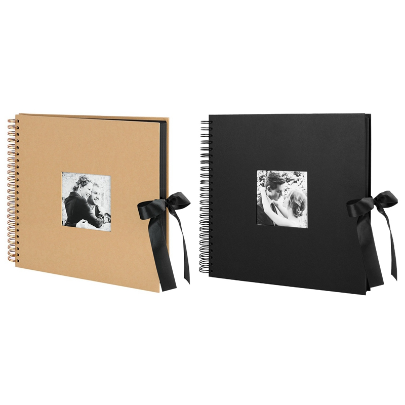 2 Pcs Scrapbook Photo Album with Photo Opening for Valentines Day Gifts, Wedding Guest Book-Brown & Black