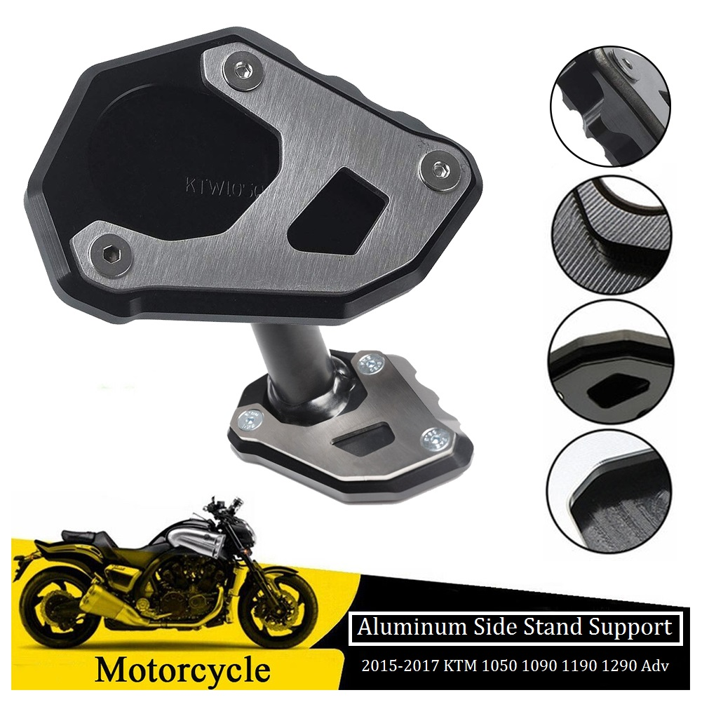 Motorcycle Kickstand Foot Side Stand Extension Pad Support Plate Black Modified Motorcycle Accessories Aluminum Alloy Motorcycle Accessories Universal