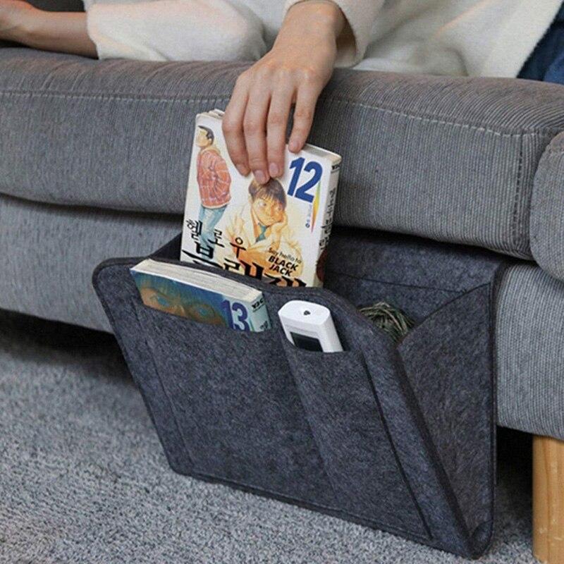 Felt Bedside Storage Organizer Anti-slip Bedside Bag Bed Sofa Side Hanging Couch Storage Remote Control Bed Holder Pockets