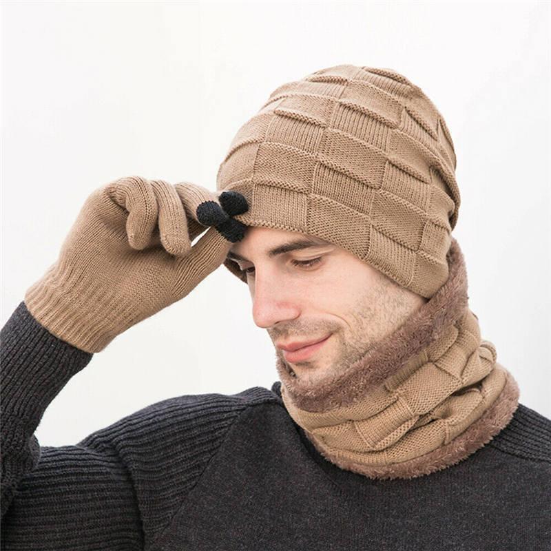 Men  Womens Winter Warm 3 Piece Set Knitted Beanie Hat Scarf Touchscreen Gloves