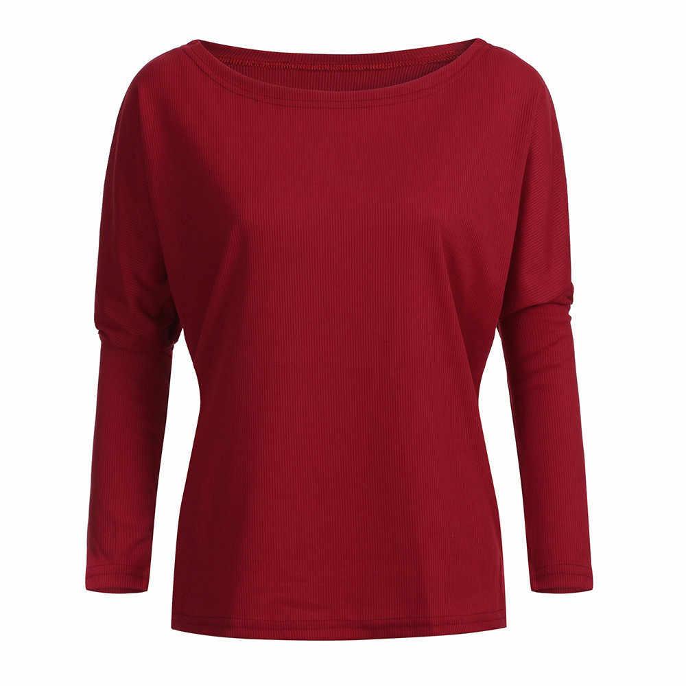 Batwing manga casual solto camisola topos pulôver moda outono fora do ombro camisola de malha sólido cinza branco malhas #