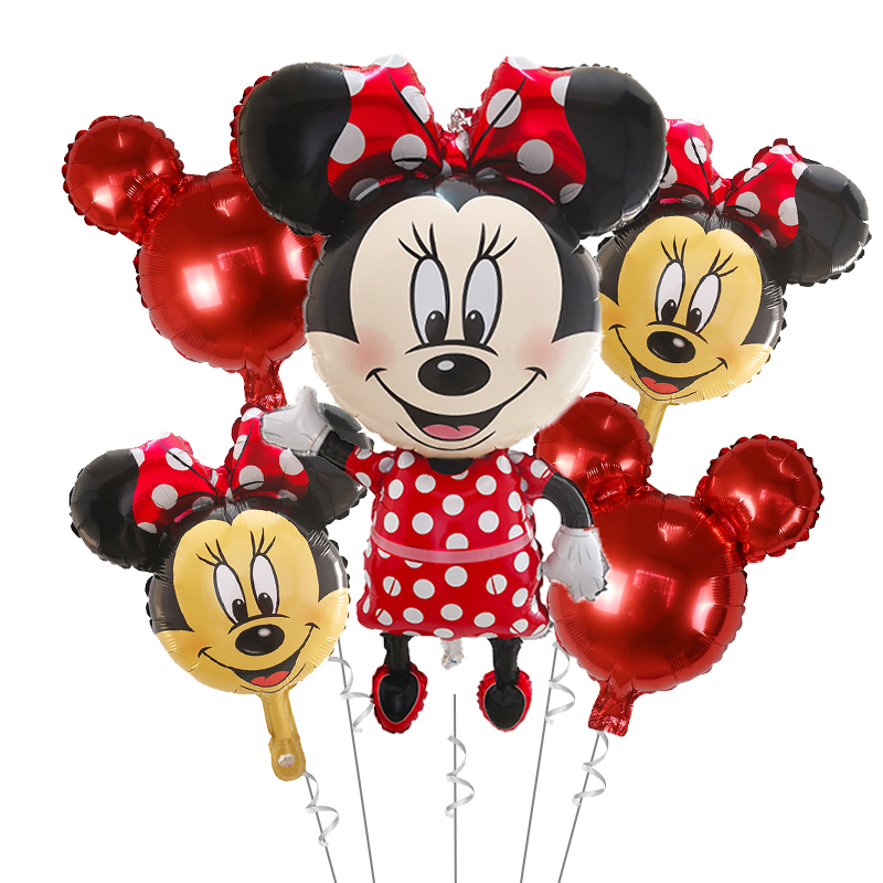 5PCS MINNIE MOUSE 1ST BIRTHDAY NUMBER 1 BALLOON PARTY SUPPLIES DECOR RED BOW