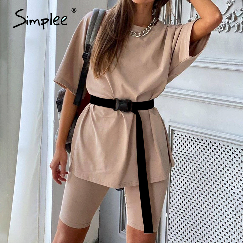 Simplee Casual solid outfits women's two piece suit with belt Home loose sports tracksuits fashion bicycle suit summer hot 2020(China)